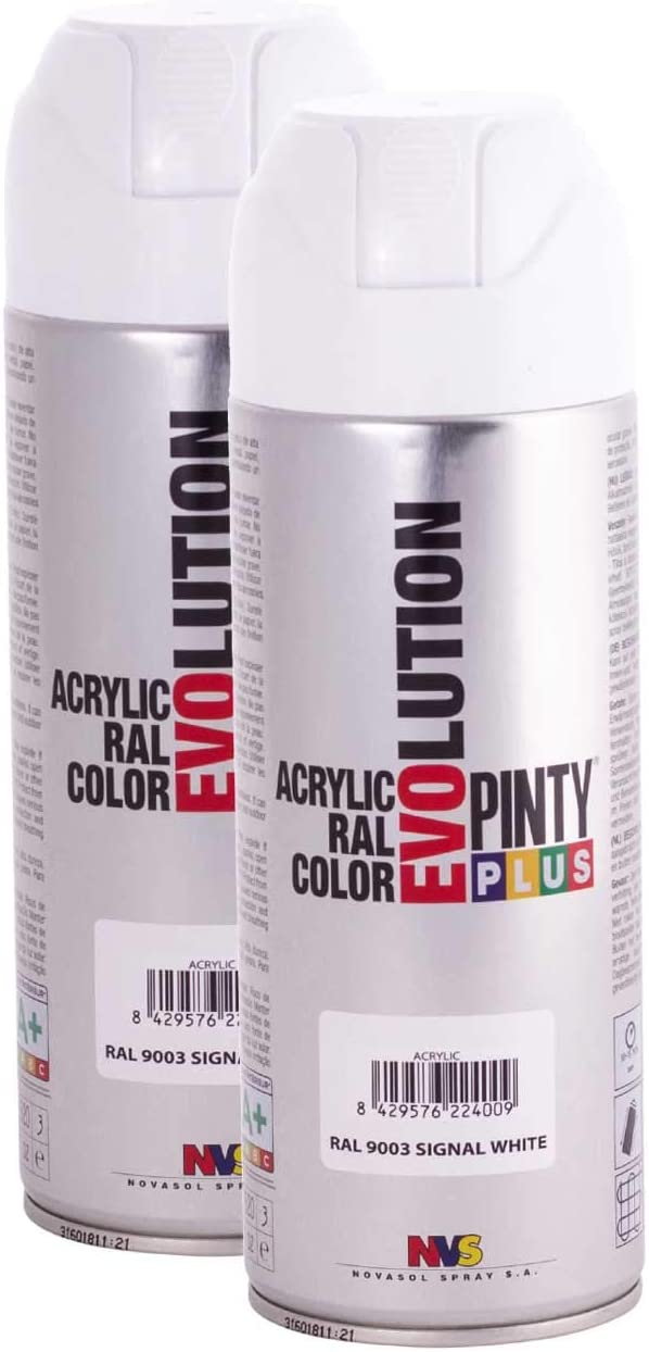 Pintyplus Evolution Solvent Based Spray Paint - 11oz, Signal White. Fast Dry, Acrylic Spray Paint For Wood, Stone, Cardboard and Paper. Low Odor. RAL 9010. Pack of 2
