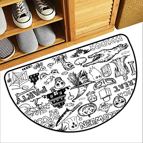 DILITECK Door mat Vintage Halloween Hand Drawn Halloween Doodle Trick or Treat Party Severed Hand Design Suitable for Outdoor and Indoor use W36 xL24 Black White -
