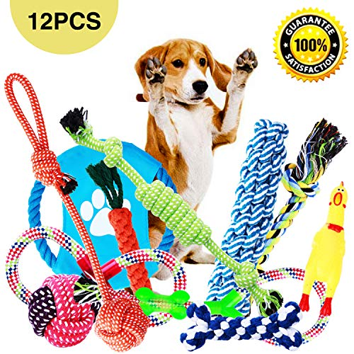 Dog Toys, Dog Chew Toys, Dog Training Toy Set with Ball Ropes and Squeaky Toys for Medium to Small Doggie, 12 Pack of Gift Pet Toy Set