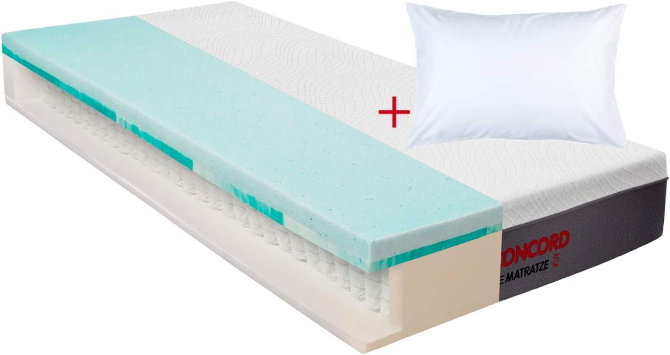 Matratzen Concord Colchón de muelles ensacados con doble sobrecolchón y almohada de 80 x 200 cm