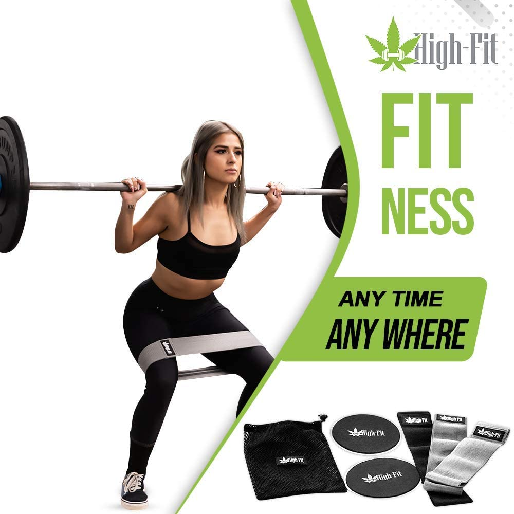 HIGH-FIT Set of 3 Premium Fabric Non-Slip Resistance Glutes Bands + 2 Dual-Sided Exercise Gliding Discs for Butt, abs, Hips, Thighs and arms, mesh Travel case Included