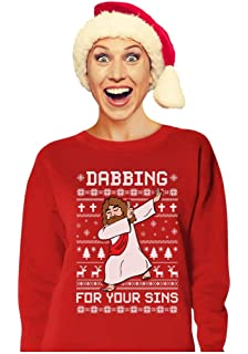 99eb03da Tstars - Dabbing Jesus Ugly Christmas Sweater Funny Dab Dance Women  Sweatshirt