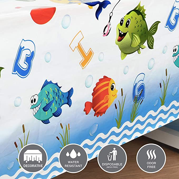 """WERNNSAI Gone Fishing Table Cover 1 Pack 54/"""" x 108/"""" Disposable Plastic Tablecloth Fish Theme Party Supplies for Kid Summer Pool Beach Little Fisherman Birthday Baby Shower Party Decorations"""