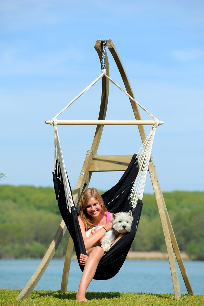 SET support et hamac chaise ATLAS bois + BRASIL noir - AMAZONAS
