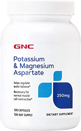 GNC Potassium & Magnesium Aspartate 250mg, 120 Capsules, Helps Regulate Water Balance