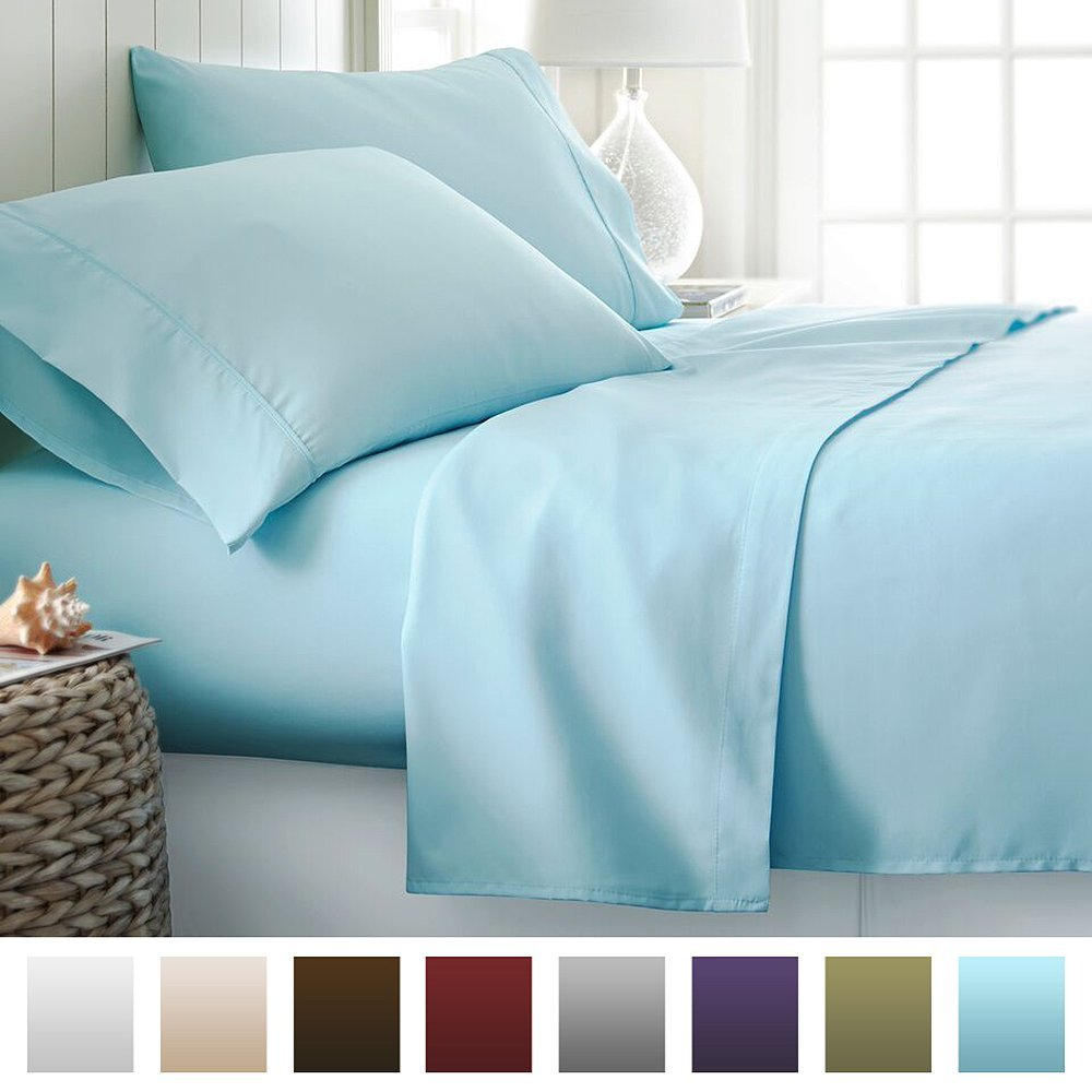 4 Piece Bed Sheet Set Deep Pocket - Queen - Aqua