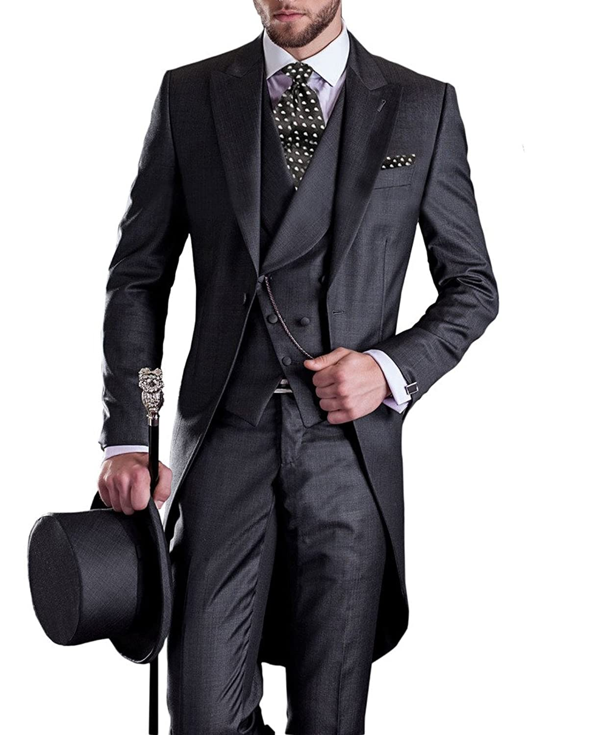 Peaky Blinders & Boardwalk Empire: Men's 1920s Gangster Clothing Mens Tail Tuxedo 3pc Tailcoat suit in Gray Suit Jacket Vest Suit Pants GEORGE BRIDE Premium $79.00 AT vintagedancer.com