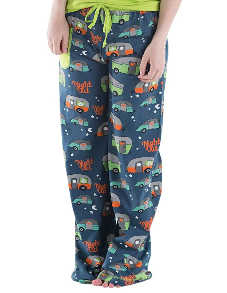 Lazy One WPP250 Women's Night Out Camping Blue and Green Cotton Pajama Pyjama Pant LazyOne