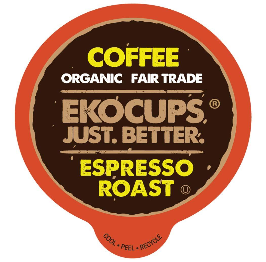 EKOCUPS Artisan Organic EspressoDark Roast Coffeein Recyclable Single Serve Cups for Keurig K-Cup Brewers, 40 Count SYNCHKG119487