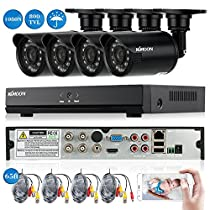 KKmoon 4CH Channel Full 1080N/720P AHD DVR NVR HDMI P2P Cloud Network Onvif Digital Video Recorder +Infrared Lamps Waterproof CCTV Camera +BNC Video Power Siamese Cable