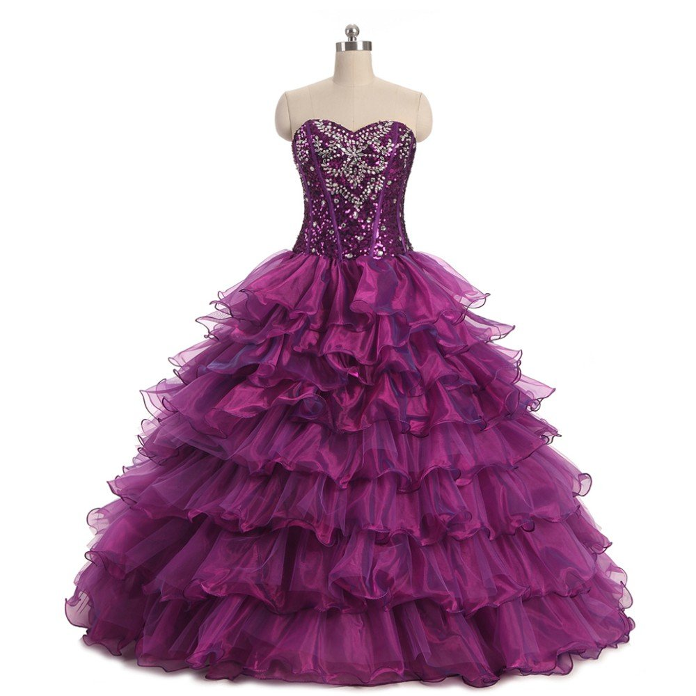 5ad5a08239d Amazon.com  Diandiai Women s Sweetheart Beaded Quinceanera Dresses Crystal  Organza Ball Gown Prom Dress  Clothing