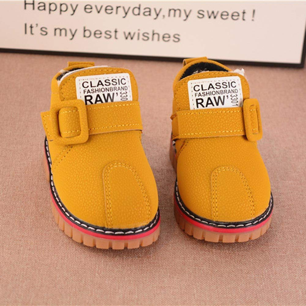 Muium Kids Baby Girls Letter Leather Snow Boots Thick Winter Warm Sneakers Casual Snow Shoes 1-6 Years Old