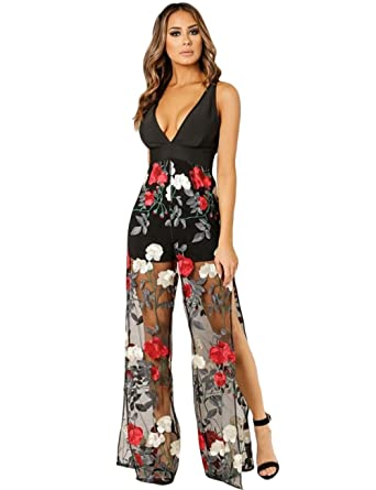 5d43480b231 Amazon.com: Maketina Womens Flare Long Bat Sleeve Wide Legs Zipper Evening  Jumpsuit Rompers: Clothing