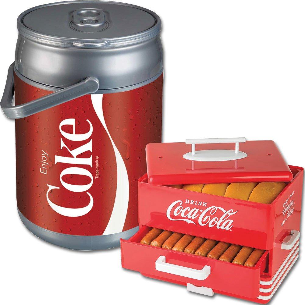 (Set) Coca-Cola Hot Dog & Bun Steamer And Coke Can 9 Quart Beverage Cooler
