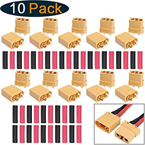 10 Pairs HobbyPark XT90 Bullet Connectors Male Female High-Amp Power Plugs with Heat Shrink Tubing for RC Lipo Batteries Pack Motor
