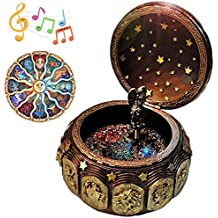 Vintage Music Box with 12 Constellations Rotating Goddess LED lights Twinkling Resin Carved Mechanism Musical Box with Sankyo 18-Note Wind Up Signs of the Zodiac Gift For Birthday Christmas (A1 Gold)