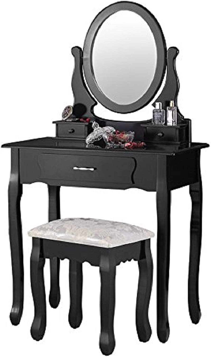 Mecor Vanity Table Set with Oval Mirror,Makeup Table w 3 Drawers Wood Dressing Table and Cushioned Stool Girls Women Bedroom Bathroom Furniture Black