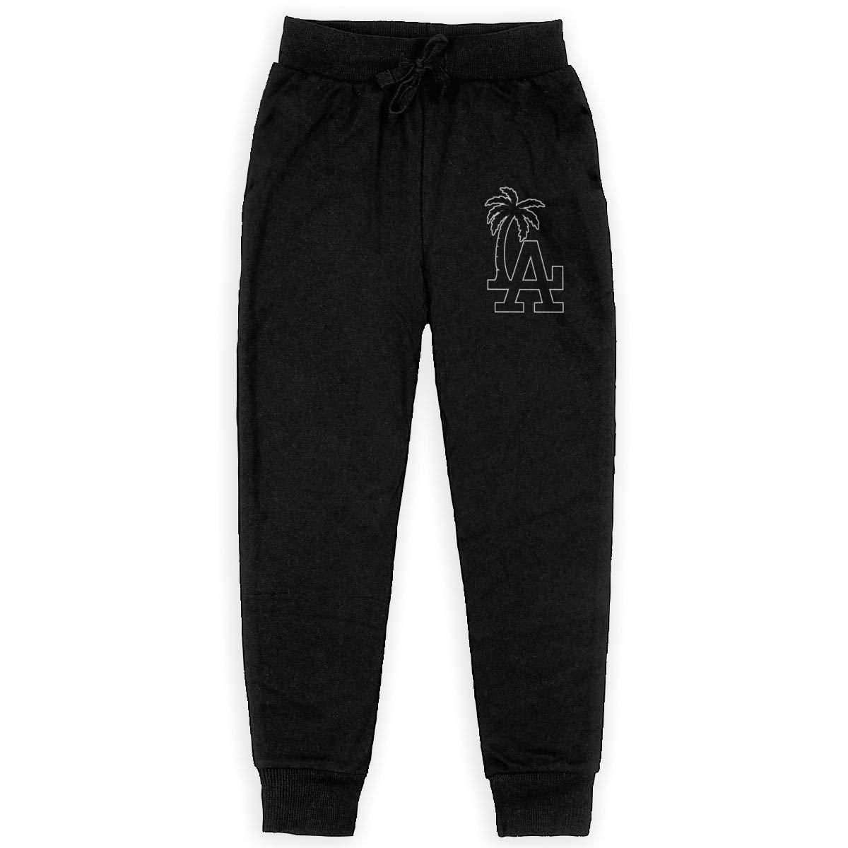 Dunpaiaa Palm Tree LA Boys Sweatpants,Joggers Sport Training Pants Trousers Black
