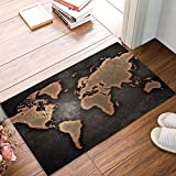 TocaHome Welcome Mats Vintage World Map Indoor/Outdoor/Front Door/Bathroom Entrance Rug Floor Mats for Home 18x30Inch