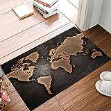 Welcome Mats Vintage World Map Indoor/Outdoor/Front Door/Bathroom Entrance Rug Floor Mats for Home 18x30Inch