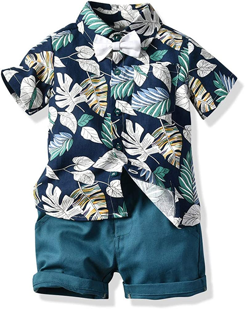Qin.Orianna Toddler Baby Boys 2Pcs Short Sleeve Floral Hawaiian Luau Aloha Shirt Outfit Clothes Shorts Set