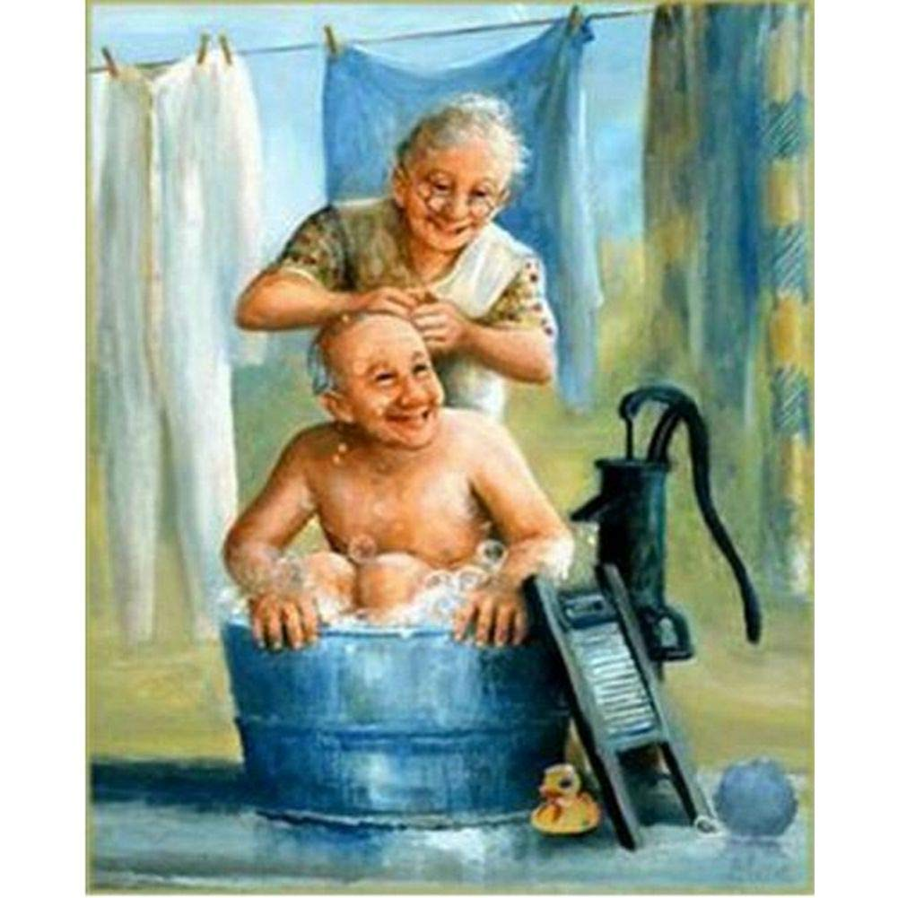 Diamond Painting Kits for Adults, Kids. Room Decoration, Home Office Old Couple 11.8x15.7in 1 by Aimerson