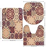 3 Piece Bathroom Mat Set,Vintage,Antique Traditional Ceramic Tiles Ornate Moroccan Arabesque Print Decorative,Burgundy Light Salmon Blue,Bath Mat,Bathroom Carpet Rug,Non-Slip