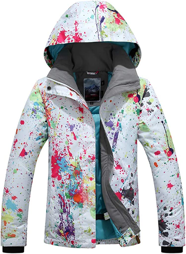 Chaqueta de Snowboard de esquí para Mujer Carta de Chaqueta Forrada de Invierno cálido Impermeable