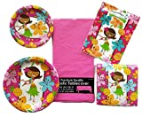 Hula Surf Girl Party Paper Plate, Napkin, Tablecloth and Loot Bags Bundle Service for 8 Guests