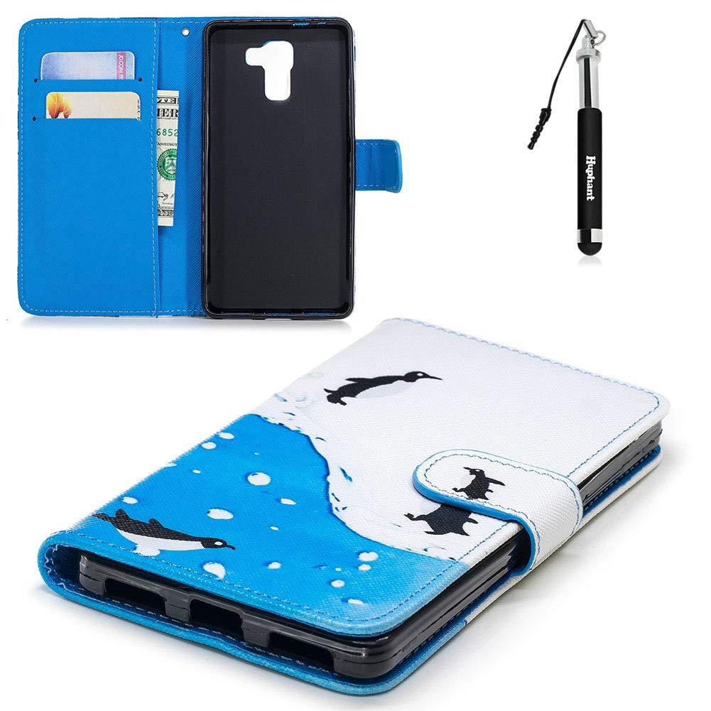 Huawei Honor 7 Hü lle , Huawei Honor 7 Leder Tasche Tier Huphant 3D Weich PU Leder Schlank Muster Flip Schutzhü lle Zubehö r Lederhü lle mit Weich Silikon Back Cover Wallet Case Tasche Hü lle fü r Huawei Honor 7 Handytasche im