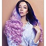 Heahair Wonderfull Color Ombre 3 Tone (Black, Purple, Pink) Synthetic Lace Front Wig Long Wavy Heat Resistant Fiber Hair Half Hand Tied Full Wigs for Woman