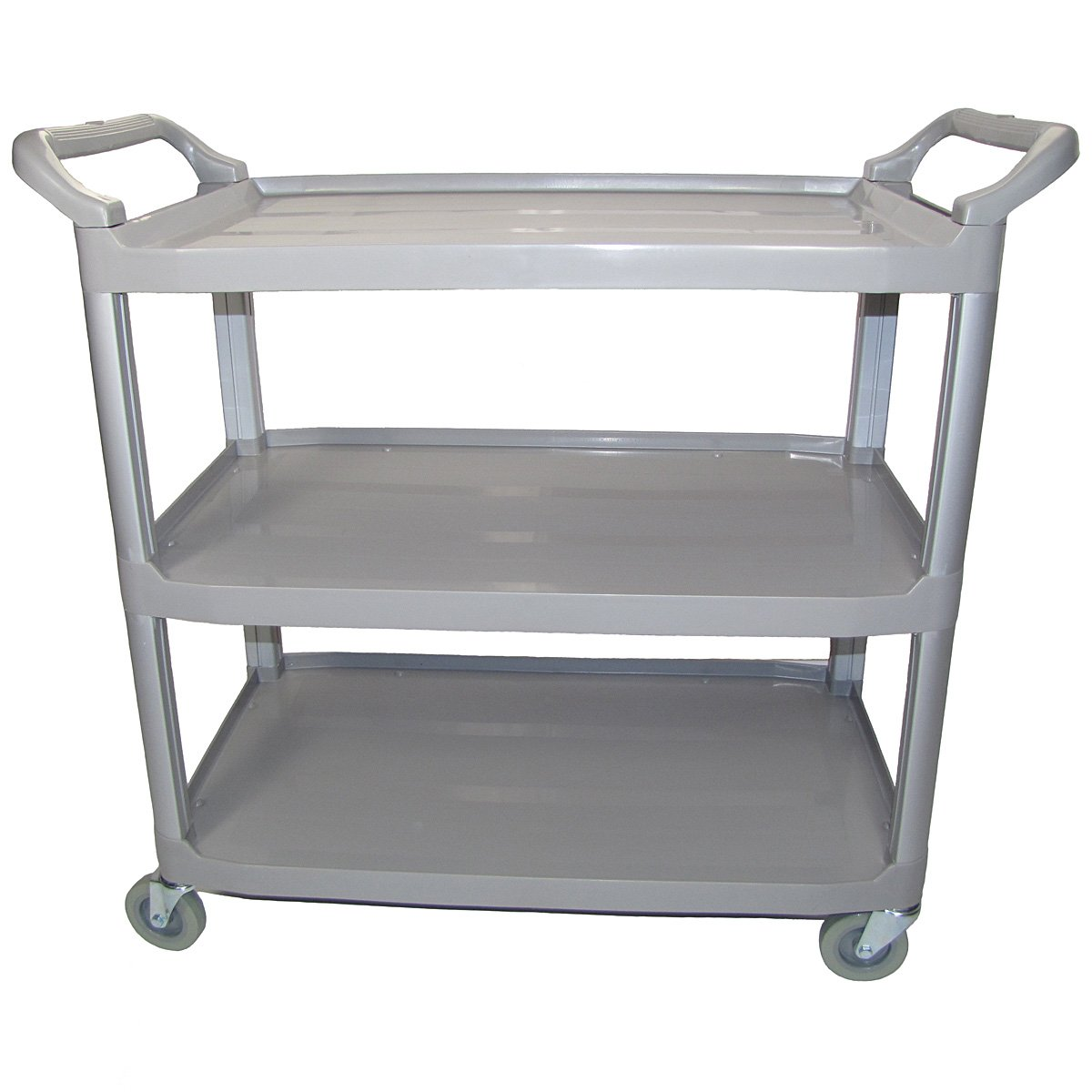 Crayata Serving and Bus Cart, Kitchen Food Service Utility Cart, 3 Tier Heavy Duty Plastic Beverage and Coffee Transport Cart for Restaurants, Gray by Crayata (Image #4)