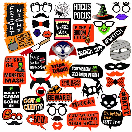 Deluxe Halloween Photo Booth Prop Set, 45 Extra Large Props, Fun for all ages by Photo Party Props ()