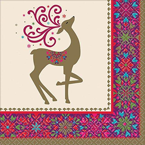 5インチ。 x 5インチ。 クリスマス風変わりな冬の鹿の飲み物用ナプキン 36枚 B0771X1Z7J