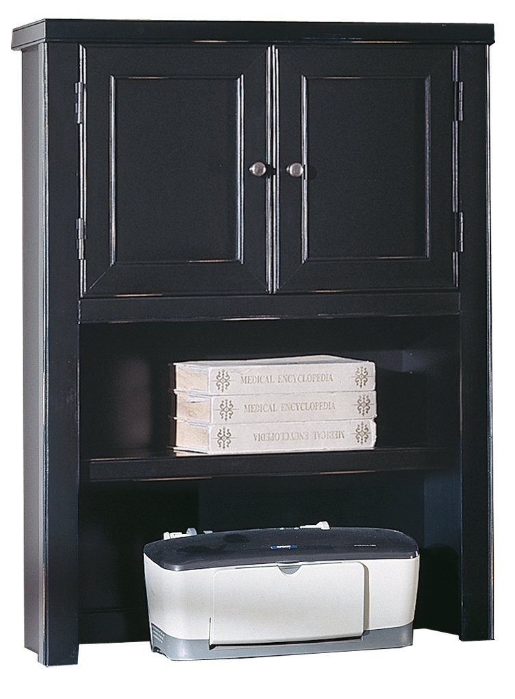 kathy ireland Home by Martin Tribeca Loft Black Hutch with Doors - Fully Assembled