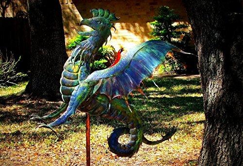 Dragon Weathervane, Garden Sculpture, Copper Handmade Original, Weather Vane
