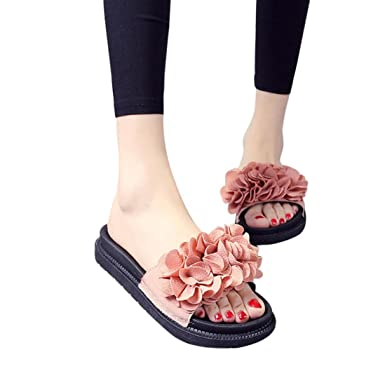 85570b25b Amazon.com: BSGSH Womens Slides, Women Grils Flower Flip Flop Soft Flat  Slip On Slide Sandals: Clothing