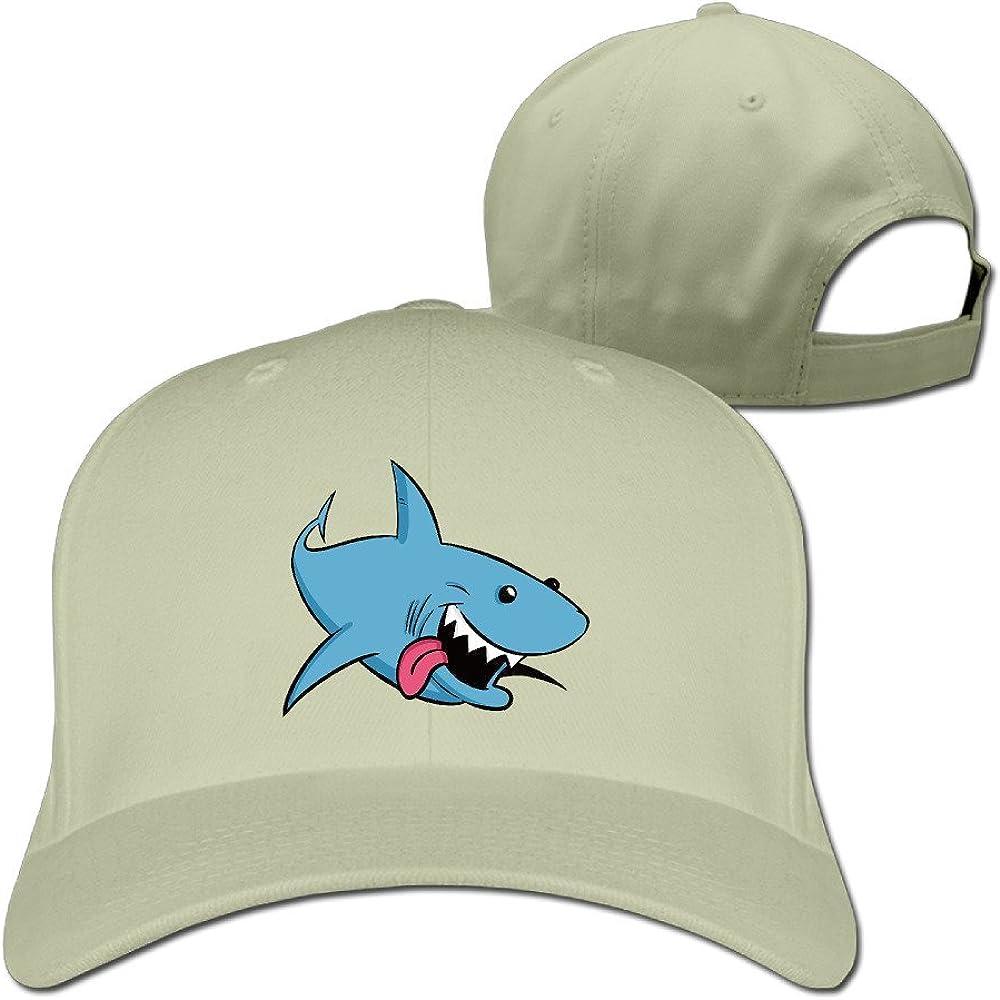FASN Cartoon Sharks Peaked Baseball Cap With Black