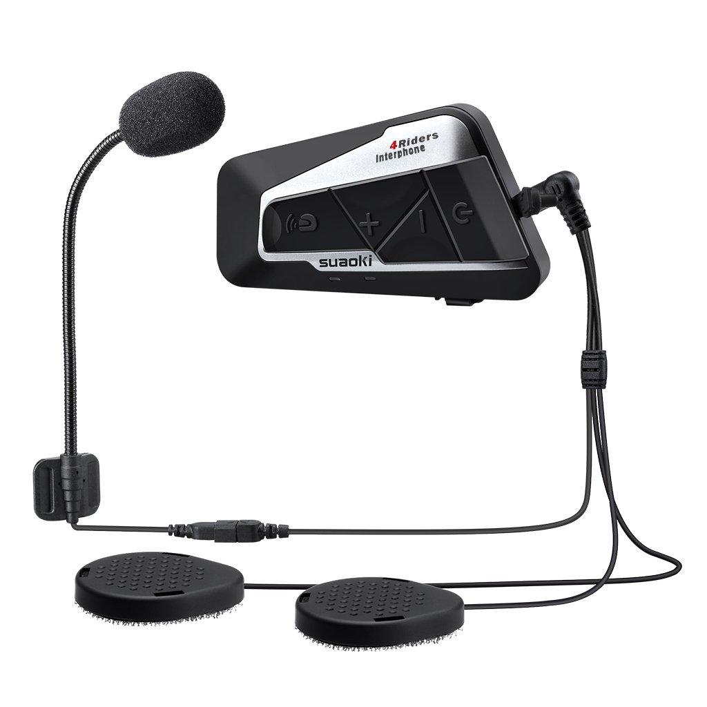 SUAOKI T9S Gegensprechanlage Motorrad Bluetooth Intercom V4 Helm Headset 1200M mit 2 Paar Mikrofone fü r Motorrad, Fahrrad, ATV, Auto (Dual) E6DEF9AA-HDDE-F1