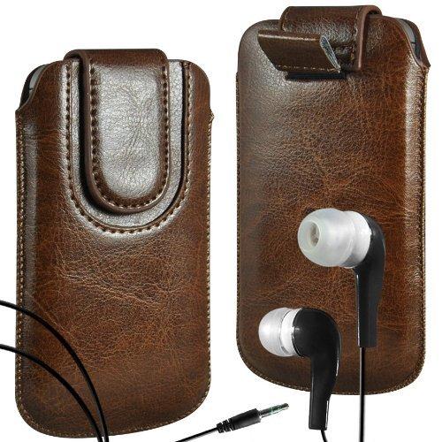 N4U Online - Apple Iphone 4S premium PU Pull en cuir flip Tab Housse Couverture avec sangle fermeture magnétique et assortis intra-auriculaire - Brun