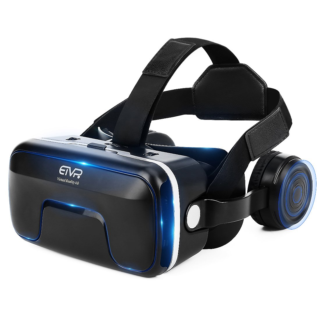 ETVR 3D VR Glasses Virtual Reality Headset for 3D Movies & VR Games with Stereo Adjustable Headphone Compatible with iPhone and Android Smartphones within 4.7-6.0 Inches by ETVR