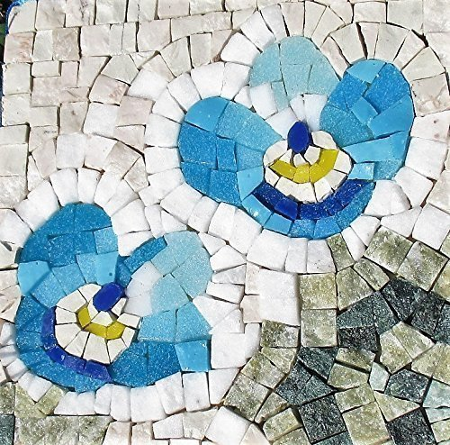 Forget Me Not Flower - Mosaic craft kit for adults - Marble & Murano glass mosaic tiles - DIY love gift - Mini mosaic wall art from MyriJoy