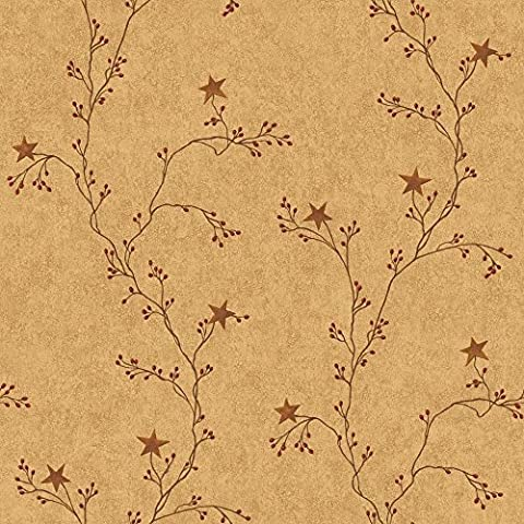 York Wallcoverings RF3526 Country Book Star Berry Vine Wallpaper, Terra Cotta (Wallpaper Country)