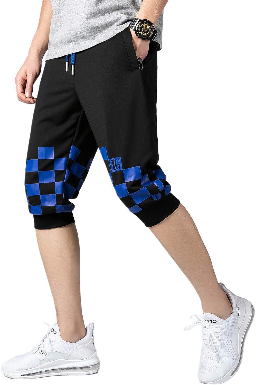 HTB Mens Workout Training Capri Pants Summer Sweat 3//4 Track Shorts Pants Color Block Below Knee Length