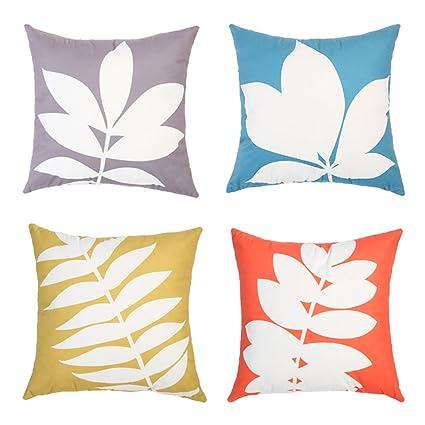 Topfinel Lino y algodón Fundas de cojín para sofá Almohadas Home Decorativo (45x45cm, E11-Hoja de arce-4pcs)