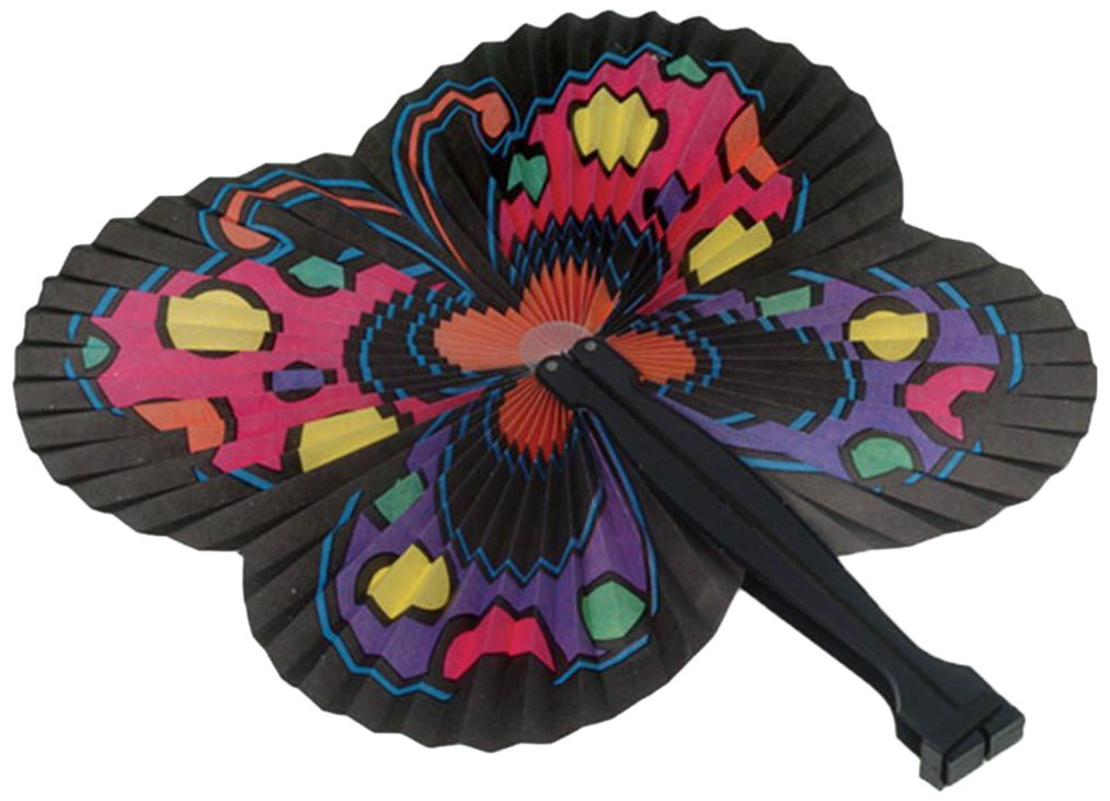 Lot Of 12 Japanese Inspired Butterfly Theme Paper Folding Fans