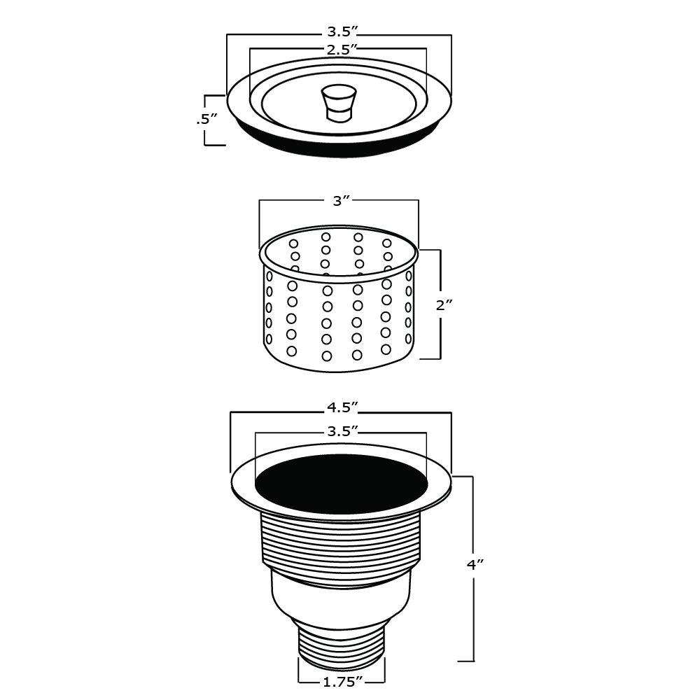 Ruvati RVA1025 Kitchen Sink Basket Strainer, Stainless Steel