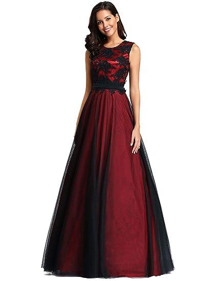 e8ea32a65a5 Ever-Pretty Robe de Soirée Longue Femme Appliques Fleurs en Tulle A Line  EZ07545  Amazon.fr  Vêtements et accessoires