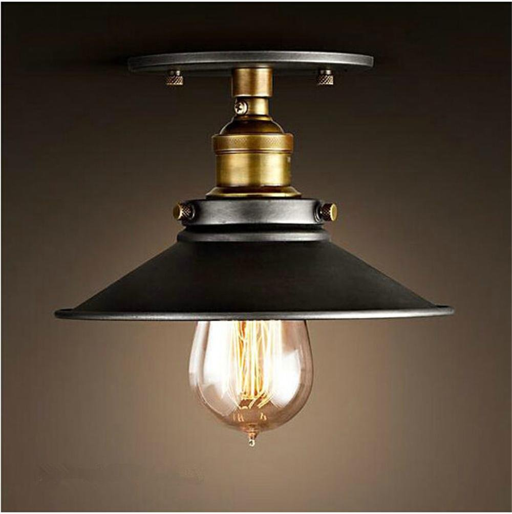 Retro Industrial Lighting Fixtures. Vintage Black Lamp Shape Copper Industrial  Wall Edison Flush Mount Sconce
