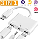 USB C Headphone Adapter, 3.5mm and Type C Digital Smart DAC Chip Audio Jack Splitter & 1 Charger, 3 in 1 Type C Charger Compatible for iPad Pro, Google Pixel, Samsung Note 10/10+, HUAWEI USB C Phone